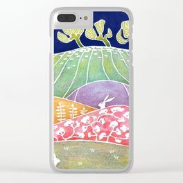 Rabbits on the meadow Clear iPhone Case