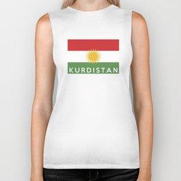 Kurdistan country flag name text Biker Tank