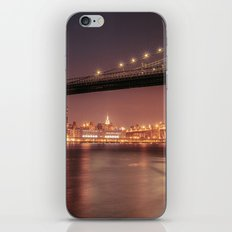 Empire State Building and Manhattan Bridge - New York City Nights iPhone & iPod Skin