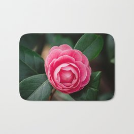 Pink Perfection Camellia Japonica Blooms in Spring Bath Mat
