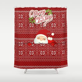 Noel Surprise Hiding Christmas Gift Shower Curtain