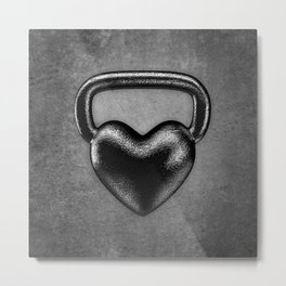 Kettlebell heart / 3D render of heavy heart shaped kettlebell Metal Print