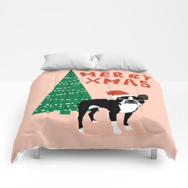 Boston Terrier Xmas - christmas tree holiday pet dog lover gift with boston terrier cute santa hat  Comforters