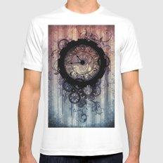 Steampunk clock MEDIUM White Mens Fitted Tee