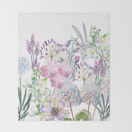 Spring Flowers Bouquet Throw Blanket