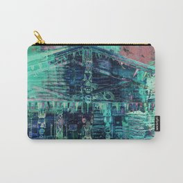 Totem Cabin Abstract - Teal Carry-All Pouch