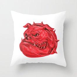 Angry Bulldog Head Drawing Throw Pillow