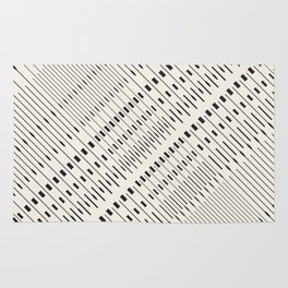Pattern lines mosaic black and white Rug