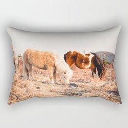 Two Horses Having Dinner Rectangular Pillow