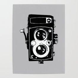 Big Vintage Camera Love - Black on Grey Background Poster