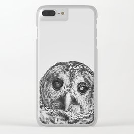 Hoo - black and white Clear iPhone Case