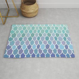 Cute Prints, Mermaid Art, Blue, Teal, Purple, Fun Art Rug