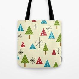 Mid Century Modern Christmas Trees Tote Bag
