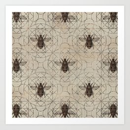 Bumble Bee  on sacred geometry pattern Art Print