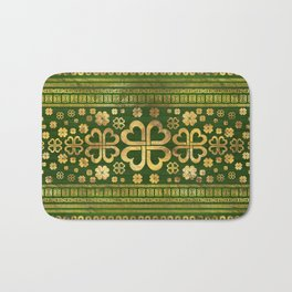 Shamrock Four-leaf Clover Green Wood and Gold Bath Mat