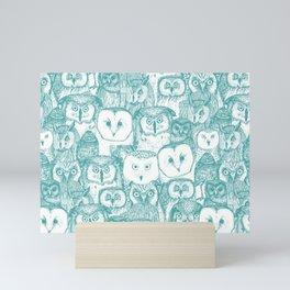 just owls teal blue Mini Art Print