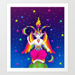 1997 Neon Rainbow Baphomet Art Print