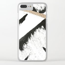 Sassy: a minimal abstract mixed-media piece in black, white, and gold by Alyssa Hamilton Art Clear iPhone Case