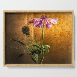Flower in vase - oil painting by Brian Vegas Serving Tray