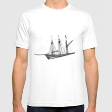 Ship MEDIUM White Mens Fitted Tee
