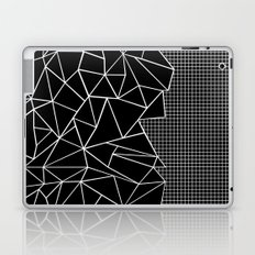 Abstract Grid Outline White on Black on Side Laptop & iPad Skin