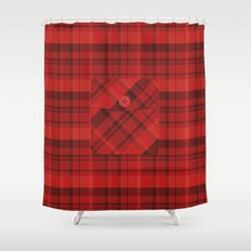 Plaid Pocket - Red Shower Curtain