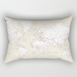 "Cream, white, red and navy blue world map, ""Deuce"" Rectangular Pillow"