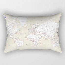 "Cream, white, red and navy blue world map, ""Deuce"" Rectangular Pillow"