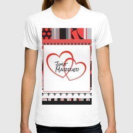 just Married Hearts white pattern I T-shirt