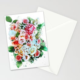 Rose Flower Bouquet Watercolor Stationery Cards