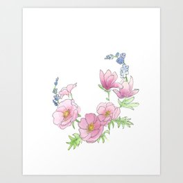 Scribble Watercolor Florals Art Print