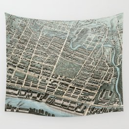 Vintage Pictorial Map of Lawrence Massachusetts (1876) Wall Tapestry
