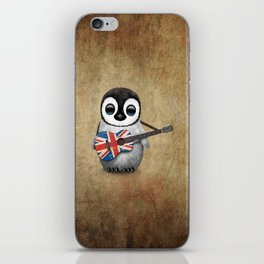 Baby Penguin Playing Union Jack British Flag Guitar iPhone Skin