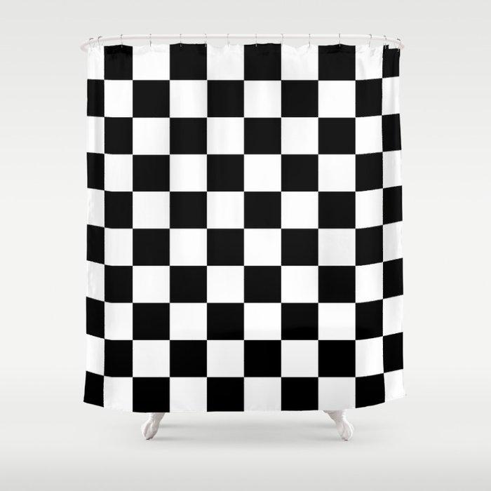 Black White Checker Shower Curtain