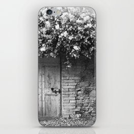 Old Italian wall overgrown with roses iPhone Skin
