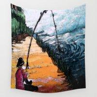fishing Wall Tapestries featuring FISHING by aztosaha