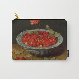 """Jacob van Hulsdonck """"Wild Strawberries and a Carnation in a Wan-Li Bowl"""" Carry-All Pouch"""