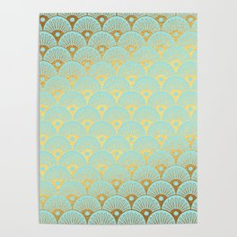 Art Deco Mermaid Scales Pattern on aqua turquoise with Gold foil effect Poster