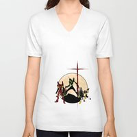 evangelion V-neck T-shirts featuring Neon Genesis Evangelion - Hill Top by kamonkey