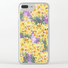 Yellow Daffodil Garden Clear iPhone Case