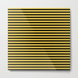 Even Horizontal Stripes, Yellow and Black, S Metal Print