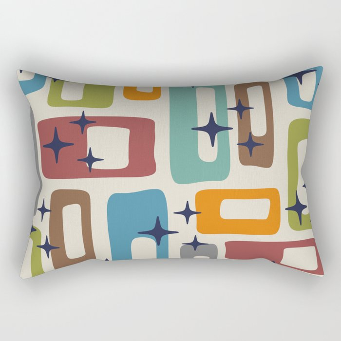 Retro Mid Century Modern Abstract Pattern 224 Rectangular Pillow