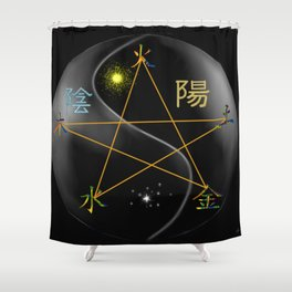 Feng Shui five elements Black Shower Curtain