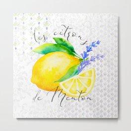 Les Citrons de Menton—Lemons and Lavender, Provence Metal Print