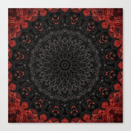 Red and Black Bohemian Mandala Design Canvas Print