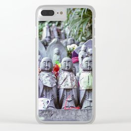 Rows of small Jizo monk statues with bibs Clear iPhone Case