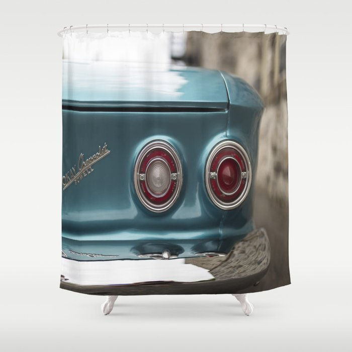 Vintage Chevy Turquoise Blue Red Shower Curtain