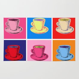 Coffee Mugs Pop Art Style Rug