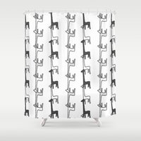 giraffes Shower Curtains featuring Giraffes by Madeleine Groves
