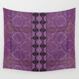 AGED PARCHMENT DAMASK, CUT VELVET in PLUM Wall Tapestry